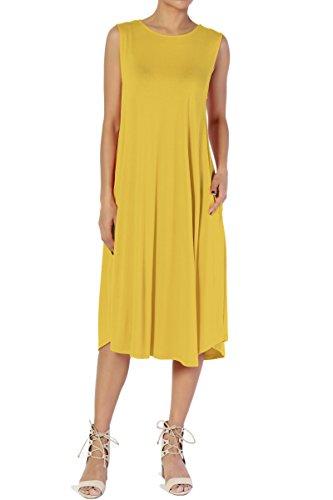 TheMogan Women & Plus Sleeveless A-line Fit & Flare Midi Long Dress with Pockets