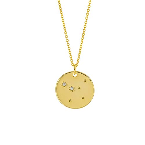 Columbus 14K Gold Plated Astrology Horoscope Constellation Zodiac Coin Necklace (Cancer)