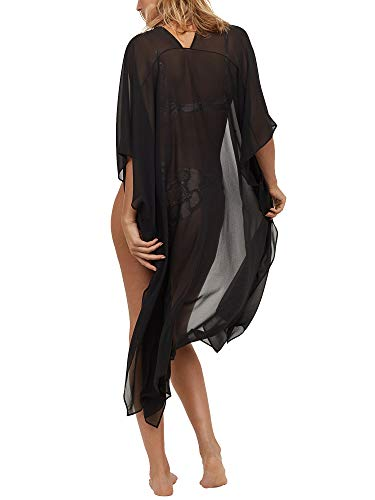 Moss Rose Chiffon Kaftan Long Beach Cover Up with Buttons and Floral Print Solid Black