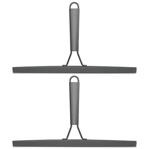 mDesign Metal Bathroom Shower Squeegee For Shower Door, Windows, Mirrors - Includes Suction Cup Hanging Hook - 2 Pack - Graphite Gray