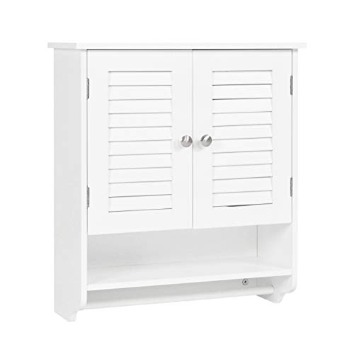Spirich Home Bathroom Cabinet Wall Mounted with Towel Bar, Two-Door Wall Cabinet with Adjustable Shelf, White