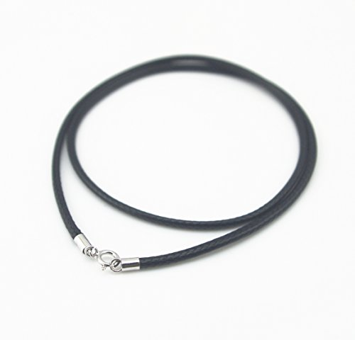 Glory Qin Black Silk Braided Rope Chain 925 Silver Plated Clasp Leather Cord Chain Necklace Rope (1.0 mm, 20 - Silver Leather Plated Necklace