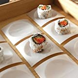 Zappy 100 Disposable Plastic Mini Square White Dessert Plates Sushi Cupcake Pie Plastic Plates Small Appetizer Plates Sample Plates Mini Party Trays ( White )