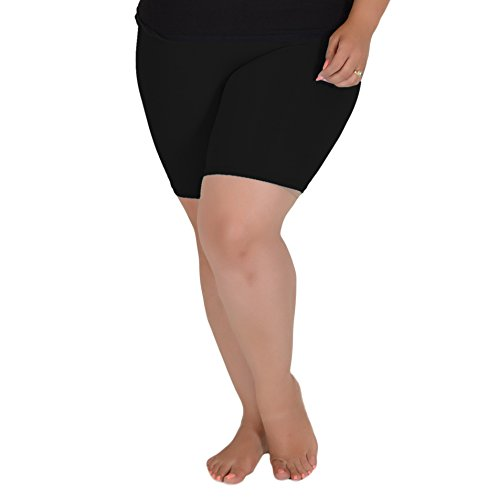 Stretch is Comfort Women's Cotton Plus Size Bike Shorts Black X-Large