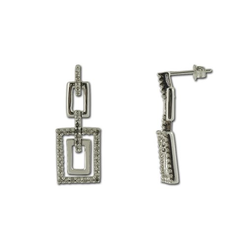 Diamond Layered Rectangular Dangling Earrings 1/2 Carat tw in 14K White Gold - Rectangular Diamond Set