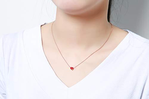 Flowetry Delicate Red Heart Pendant Necklace Heart Dangle Crystal Earrings Love Heart Jewelry Set for Women Girl by Flowetry (Image #1)