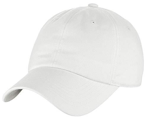 (C.C Unisex Classic Blank Low Profile Cotton Unconstructed Baseball Cap Dad Hat White)