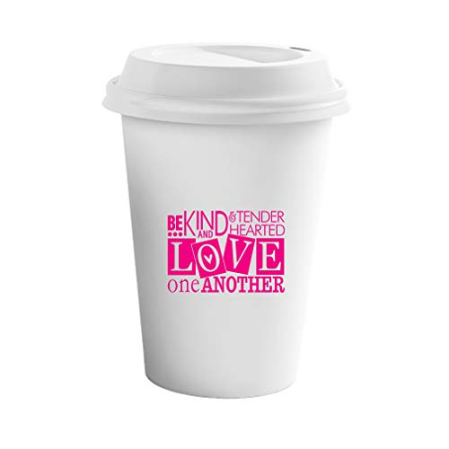 Style In Print Hot Pink Be Kind & Tender Hearted Love One Another Ceramic Coffee Tumbler Travel Mug (Be Kind To One Another Tender Hearted)