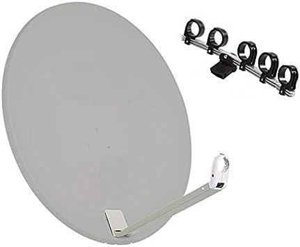 Kit Antena parabólica acero blanco 110 cm 5 Triax Soporte para LNB reducir hasta 5 satélite LNB () no incluido
