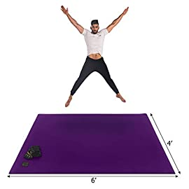 Gxmmat Large Exercise Mat 6'x4'x7mm, Thick Workout Mats for Home Gym Flooring, Extra Wide Non-Slip Durable Cardio Mat…