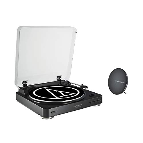 Audio-Technica AT-LP60SPBT-BK Fully Automatic Belt-Drive Wireless Turntable and Speaker System Black