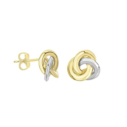 (Finejewelers 14 Kt Two Tone Gold 11.1mm 3 Row Loveknot Style Post Earrings)