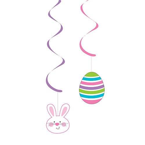 Creative Converting 33442 5 Count Easter Bunny and Eggs Dizzy Danglers Hanging Party Decoration, Pink/Purple