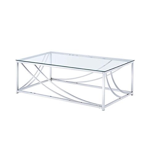 Coaster 720498-CO Glass Top Coffee Table, Chrome (Chrome Table Coffee)