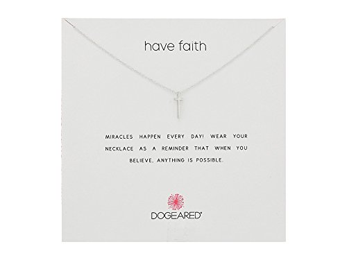 Dogeared Reminder Have Faith, Long Cross Silver Chain Necklace