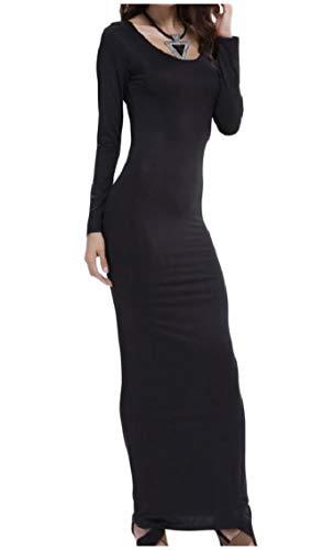 Coolred-femmes À Manches Longues Pur Justaucorps Stretch Couleur Robe Maxi Doux Noir