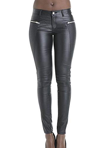 lexiart Black Leather Pants for Women Faux Leather Pants Sexy Pleather Leggings U.S.A 10