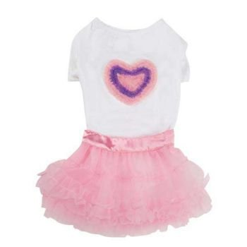 Chiffon Heart Dog Tee and Skirt Set Size: Small (0.25″ H x 12″ W x 9.5″ D), My Pet Supplies