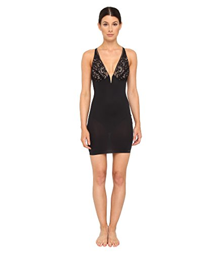 Donna Karan Women's Sculpting Solutions Lace Smoothing Slip, Black/Nomad, SM