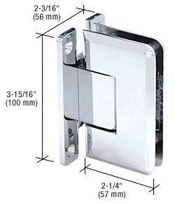 CRL Polished Chrome Cologne 537 Series Wall Mount Full Back Plate Standard Shower Door Hinge with 5º Offset