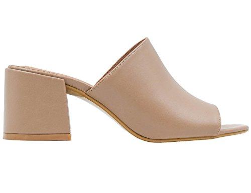 Automne Chaussures Beige Fermeture Éclair Bout Rond Des Femmes De Unze Londres GvdF9UH03Q
