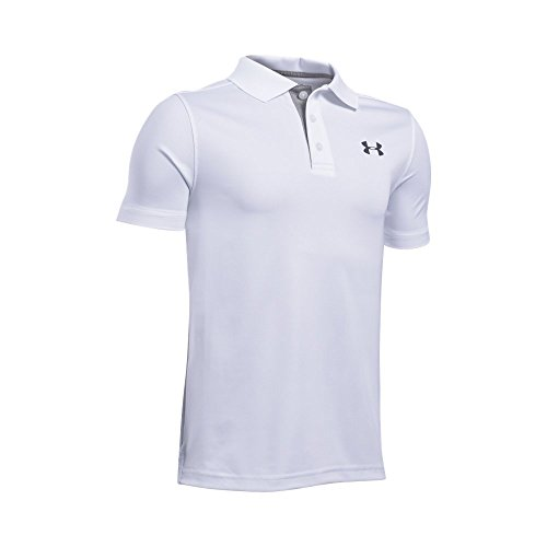 Under Armour Boys' Performance Polo, White /Rhino Gray, Youth Large