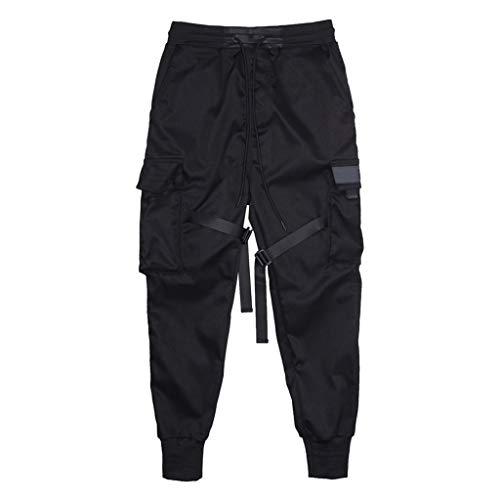 Aleola Mens Spring Antumn Retro Solid Color Multi-pocket Long Pants Trousers (Black,L)