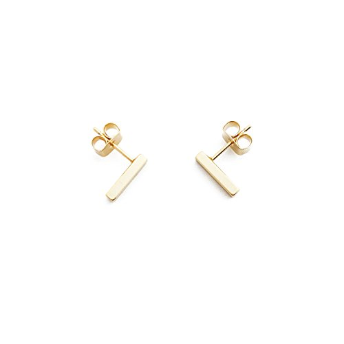 HONEYCAT 24k Gold Plated Mini Flat Bar Stud Earrings | Minimalist, Delicate (24ct Bars)