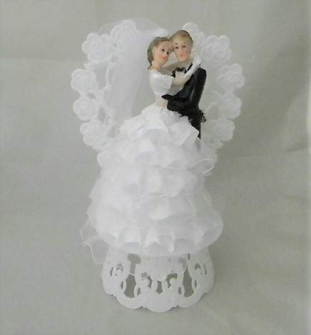 Wedding party reception Bride Groom Unique Ruffles Cake Topper