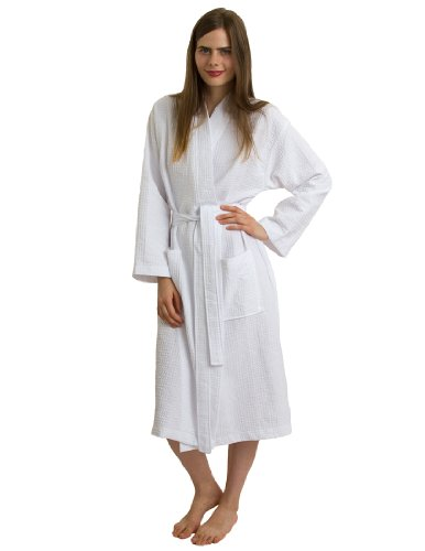 TowelSelections Waffle Robe - Square Pattern Waffle Kimono Bathrobe for Women and Men, White, Small/Medium