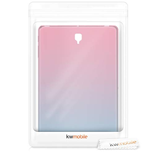 kwmobile TPU Silicone Case Compatible with Samsung Galaxy Tab S4 10.5 - Soft Flexible Shock Absorbent Cover - Bicolor Dark Pink/Blue/Transparent