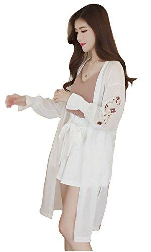 Sweeml シフォン ガウン 刺繍入り ロングカーディガン 長袖 透け感 薄手 日焼け防止 アウター (ホワイト)