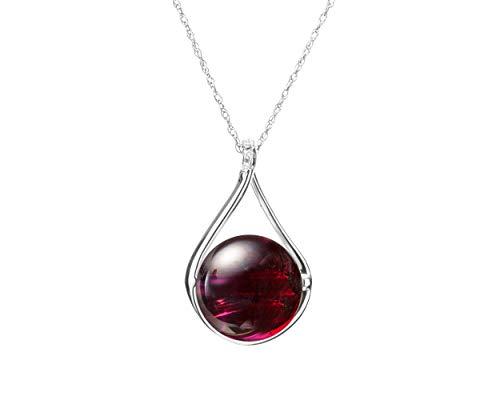 (Red garnet and diamond necklace by Majade. Simple minimalist January birthstone pendant, Handmade 14k white jewelry. Wine red burgundy gemstone teardrop pendant. Red stone garnet pendant)
