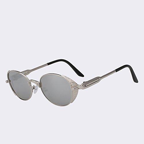 gafas UV humo s400 sol dibujo estilo Hombres de de punk gafas alta Retro Vintage de Gafas de del oval marca Mujer plata Mujeres TIANLIANG04 metal sol calidad de mirror Silver lens de f7pwnq