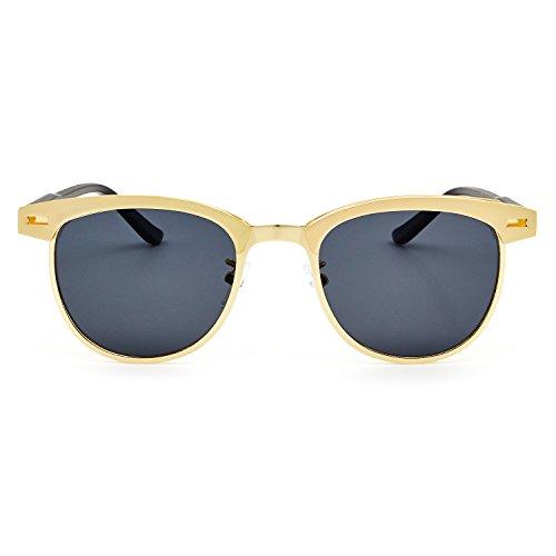 Gris Sol Marco Hombre Polarizadas 100 Mujer UV400 Lente Gafas de y Gafas Retro Dorado Protección para RONSOU I6v5ZwqxX
