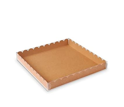 Selfpackaging Caja para Galletas o Macarons con Tapa Transparente y Base en Color Kraft. Pack