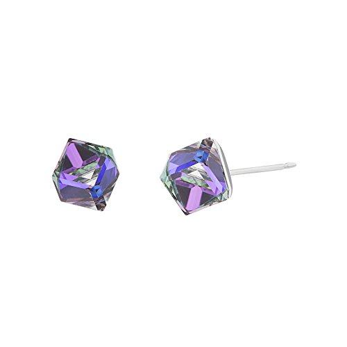 LESA MICHELE Stainless Steel Purple Prism Crystal Cube Stud Earrings for Women and Easter Basket Gifts made with Swarovski Crystals (Crystal Heliotrope)