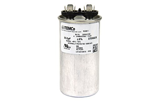 TEMCo Motor Run Capacitor RC0011-30 mfd 370 V VAC volt 30 uf Round HVAC TEMCo AC Electric