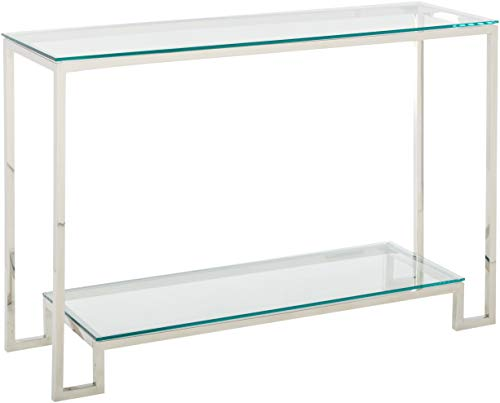 Cortesi Home CH-AT656904 Reef Contemporary 2 Shelf Glass Console Table, Silver