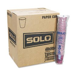 SOLO Cup Company Products - SOLO Cup Company - Bistro Design Hot Drink Cups, Paper, 12 oz., Maroon, 20 Bags of 50/Carton - Sold As 1 Carton - High-performance single-poly cup. - Upscale, coffee-themed appearance. - Ideal for food services.