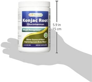 Best Naturals Konjac Root Glucomannan Powder (Non-GMO) - Promotes Healthy Metabolism & Weight Management - 1 Pound