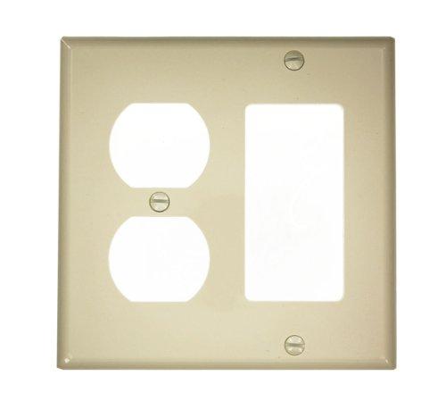 Leviton 80746-I 2-Gang 1-Duplex 1-Decora/GFCI Device Combination Wallplate, Standard Size, Thermoplastic Nylon, Ivory Leviton Receptacle Nylon 1 Gang