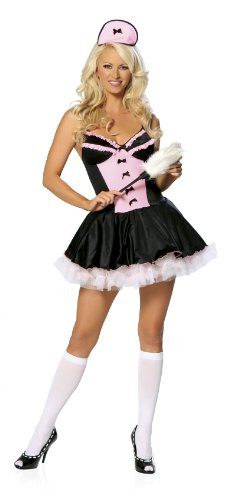 Sexy Roma Halloween Adult Pink French Maid Costume Medium/large (French Maid Costumes For Adults)