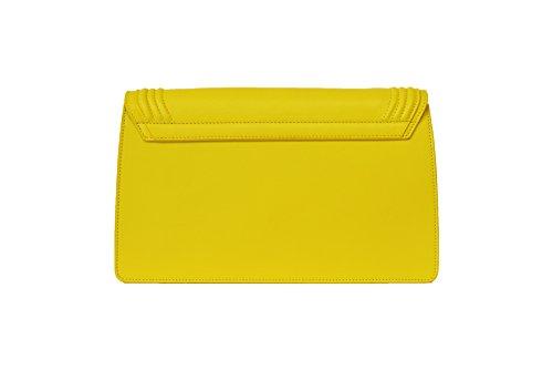"""Borsa da donna tipo pochette media gialla in vera pelle, """"La Sei"""" di BORGENNI"""