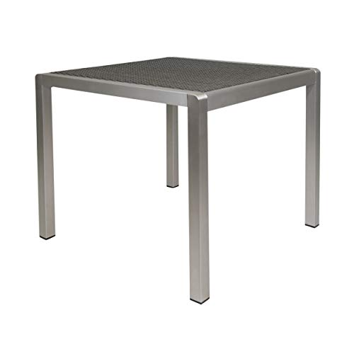 Christopher Knight Home Louie Coral Outdoor Dining Anodized Aluminum-Wicker Table Top-Square-Silver and Gray-35, Gray