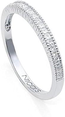 NICOLS 14710140011 - Anillo de Pedida Media Alianza PRINCESS. Fabricada en oro blanco de y diamantes talla princesa. Peso total D0.28ct.