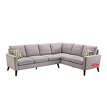 Amazon.com: Sectional Sofa Linen Fabric Modern L-Shaped ...