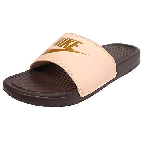 (Nike Women's Benassi JDI Slide Sandal 343881-801 (10, Crimson Tint/Metallic Gold))