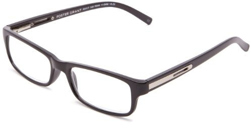 Foster Grant Men's Brandon Rectangular, Black, 50 mm 1.25