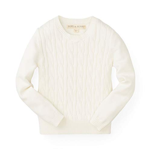 Hope & Henry Girls' Cable Front Sweater White